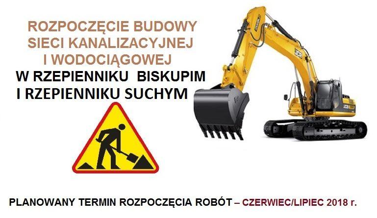 Rozpoczęcie budowy sieci kanalizacyjnej i wodociągowej w Rzepienniku Biskupim i w Rzepienniku Suchym
