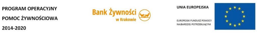 Loga: program operacyjny pomoc żywnościowa 2014-2020,Bank żywności w Krakowie, Unia Europejska europejski fundusz pomocy najbardziej potrzebującym