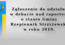 Zgłoszenie do udziału w debacie nad raportem o stanie Gminy Rzepiennik Strzyżewski w roku 2019.