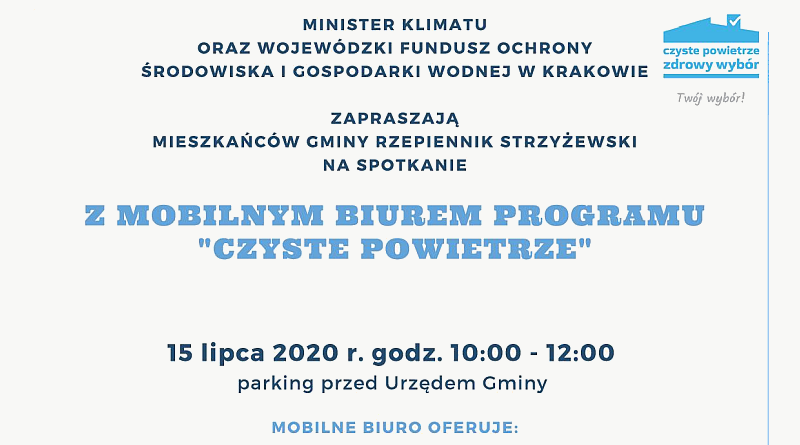 """Mobilne Biuro Programu """"Czyste Powietrze"""" 15 lipca 2020"""