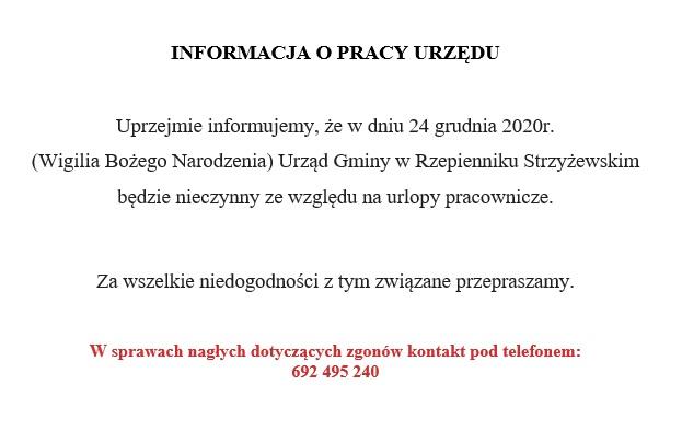 Informacja o pracy Urzędu